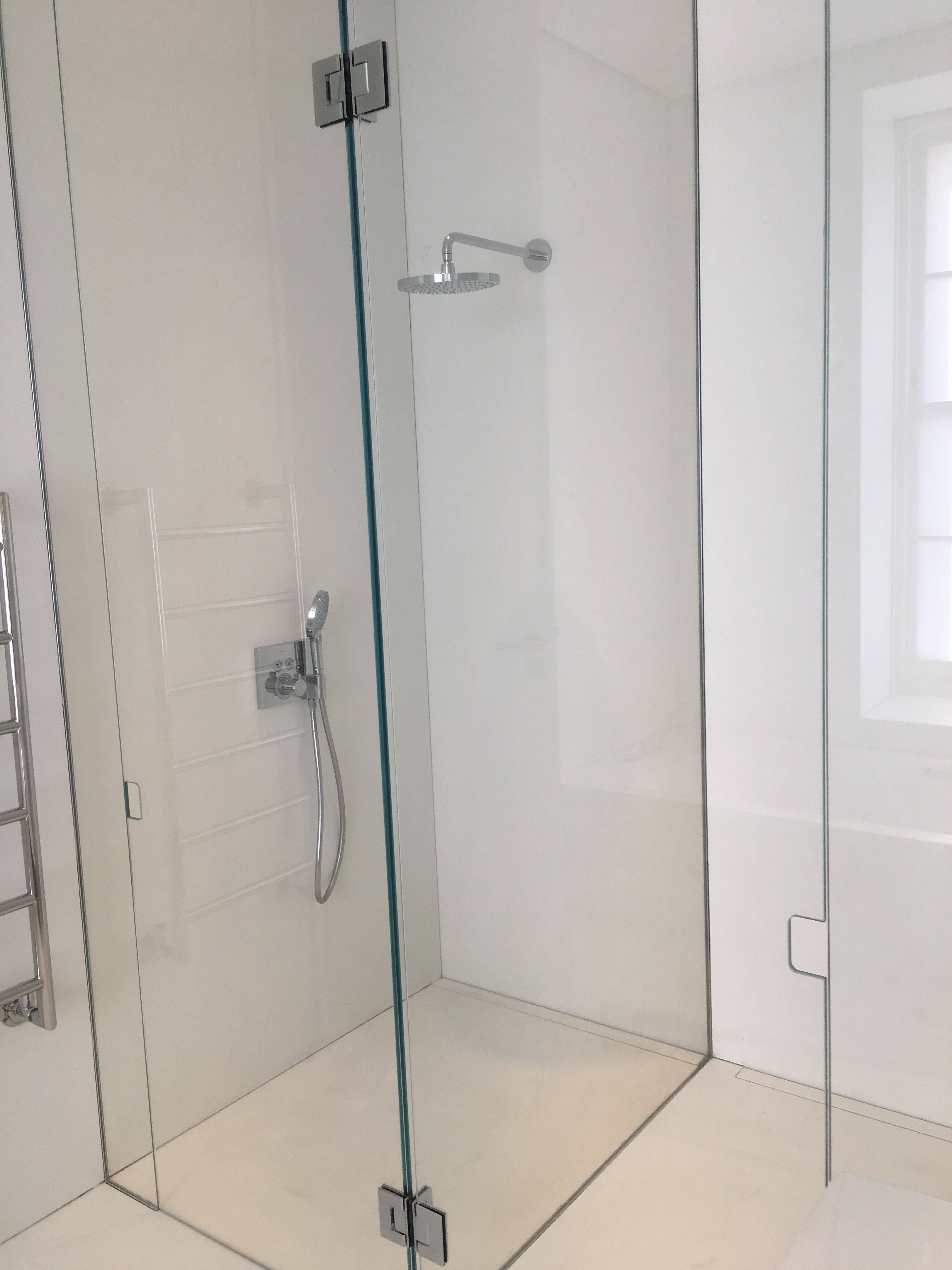 Frameless Glass Shower And Wc Enclosure Doors Hinged With Double T Hinge From Dividing Panel 3m High In Custom Glass Glass Office Partitions Glass Suppliers