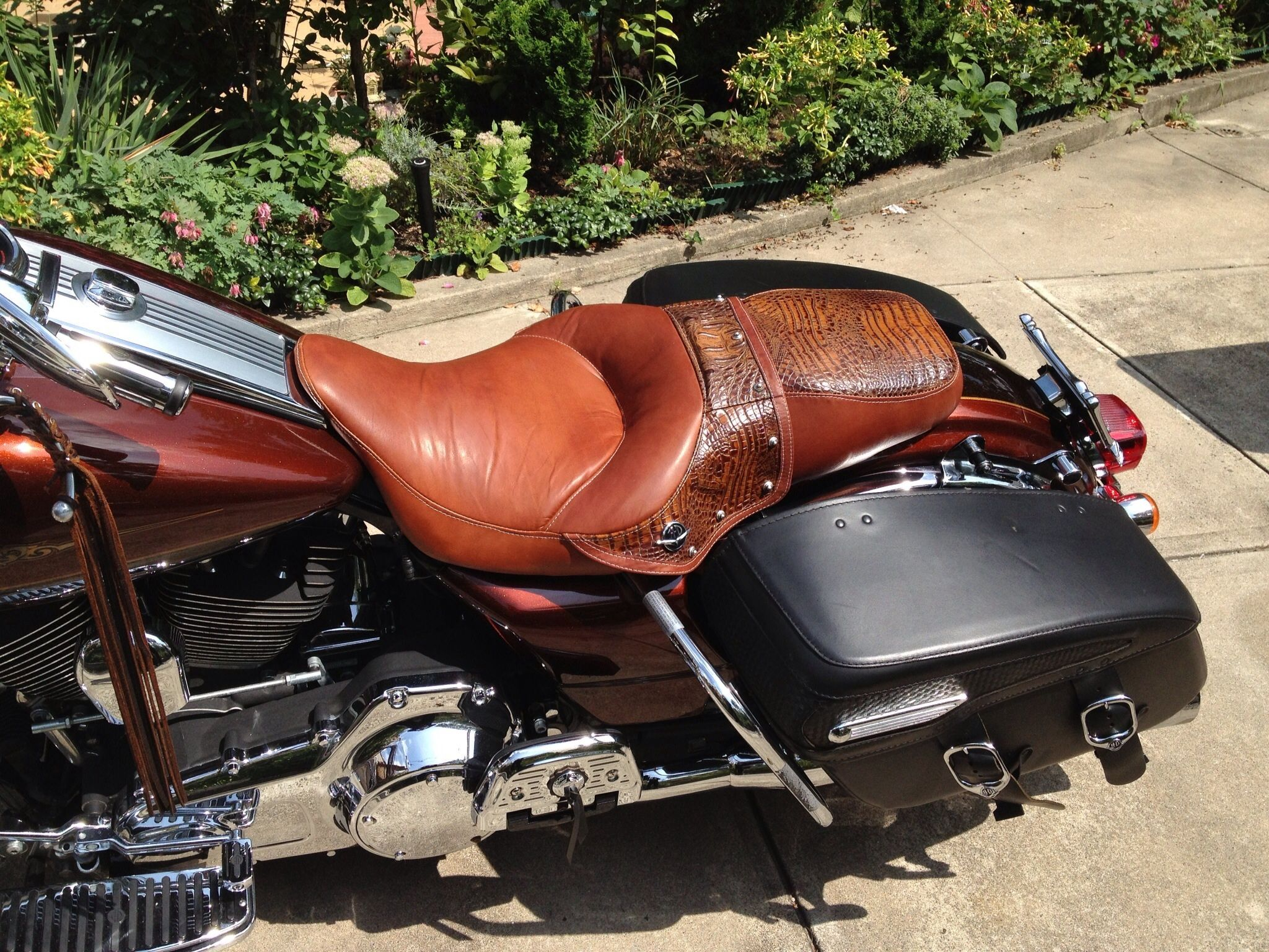 Custom Saddle Leather With Croc And Studs A Wrinc Design Exclusive Only At Wrinc Etsy Leather Saddle Bags Bike Leathers Harley Davidson Seats
