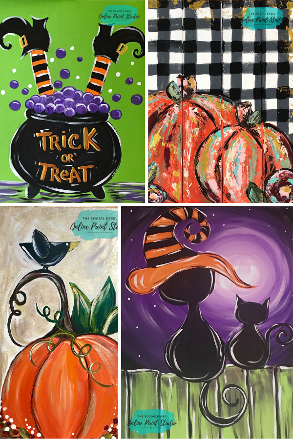 Easy to Follow Acrylic Painting Tutorials for Beginner & Beyond The Social Easel Online Paint Studio #pumpkinpaintingideas