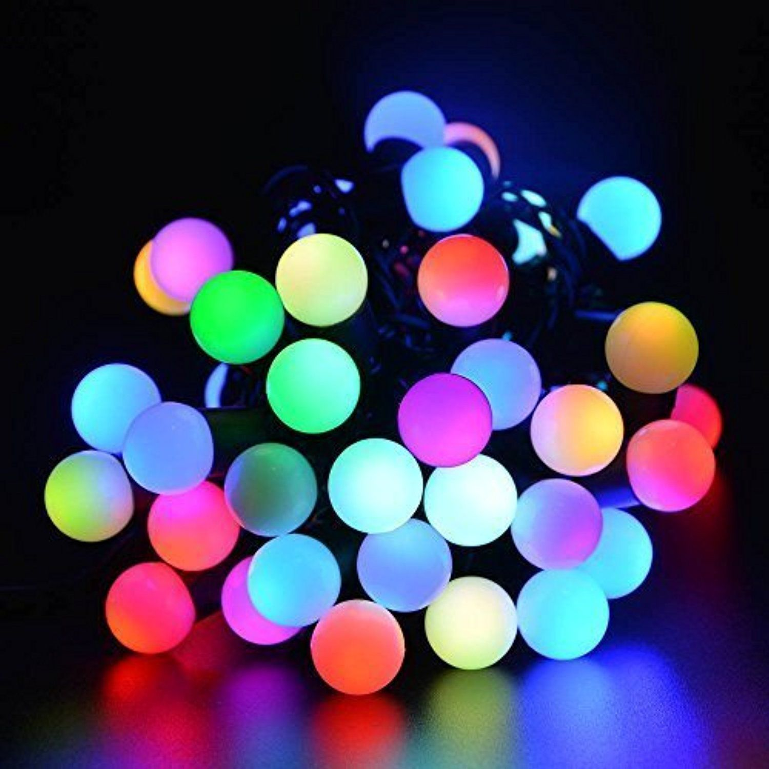 Fullbell Christmas 16ft 50 LED RGB Ball String Lights, Color Changing  Novelty Fairy Globe String