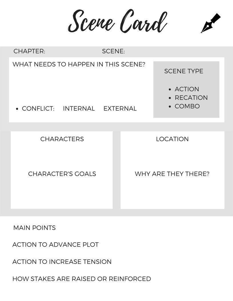 worksheet Novel Writing Worksheets on sale novel writing scene card nanowrimo worksheet printable digital print