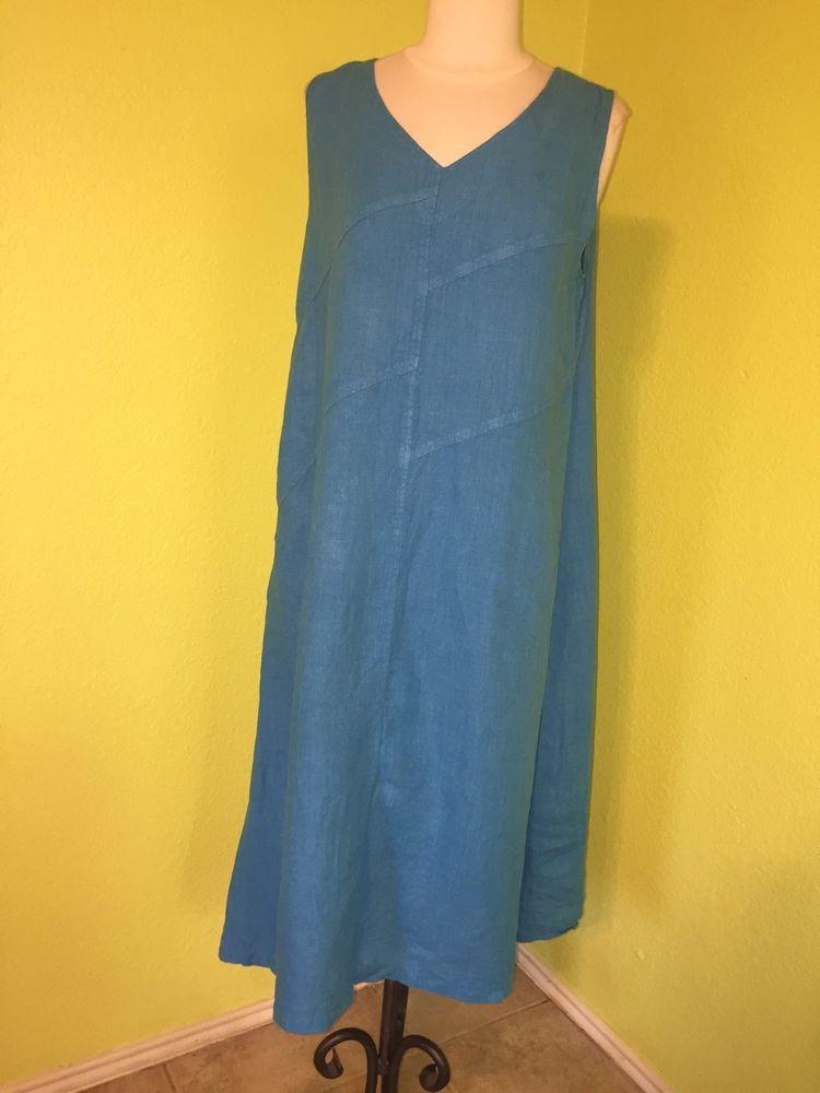 Women's Linen Dress Sz S M MOSAIC USA Solid Shift Long LAGENLOOK FS #MosaicUSA #tent