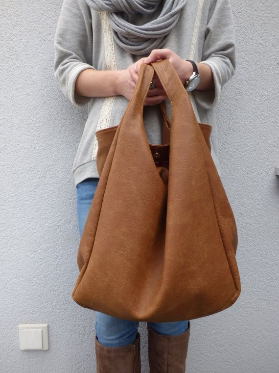 Brown Oversized Leather Hobo Bag By Vankdesign Etsy Listing 180421639