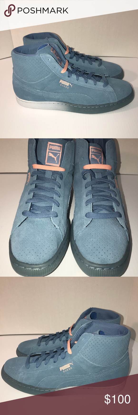 Puma Suede Pink Dolphin Collab Blue Pink Men Shoes Puma