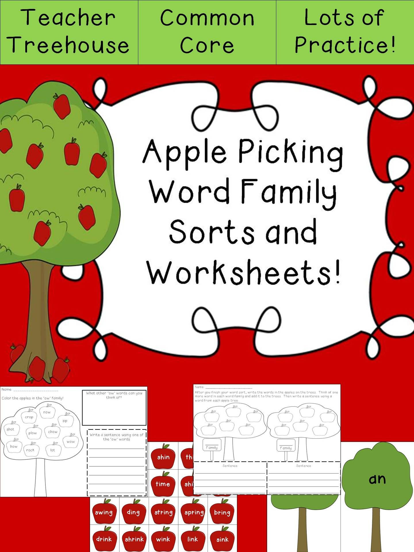 Beginning of the Year Word Families Sort and Worksheet Bundle {Just ...