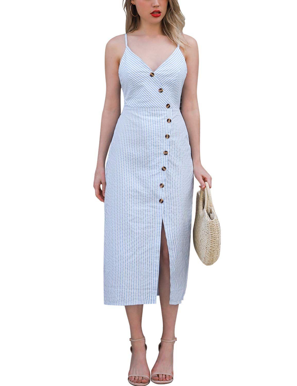 Blooming Jelly Womens V Neck Dress Sleeveless Spaghetti Strap Button Down Striped Summer Casual Midi Dr Midi Dress Casual Wrap Dress Midi Midi Dress Sleeveless [ 1500 x 1154 Pixel ]