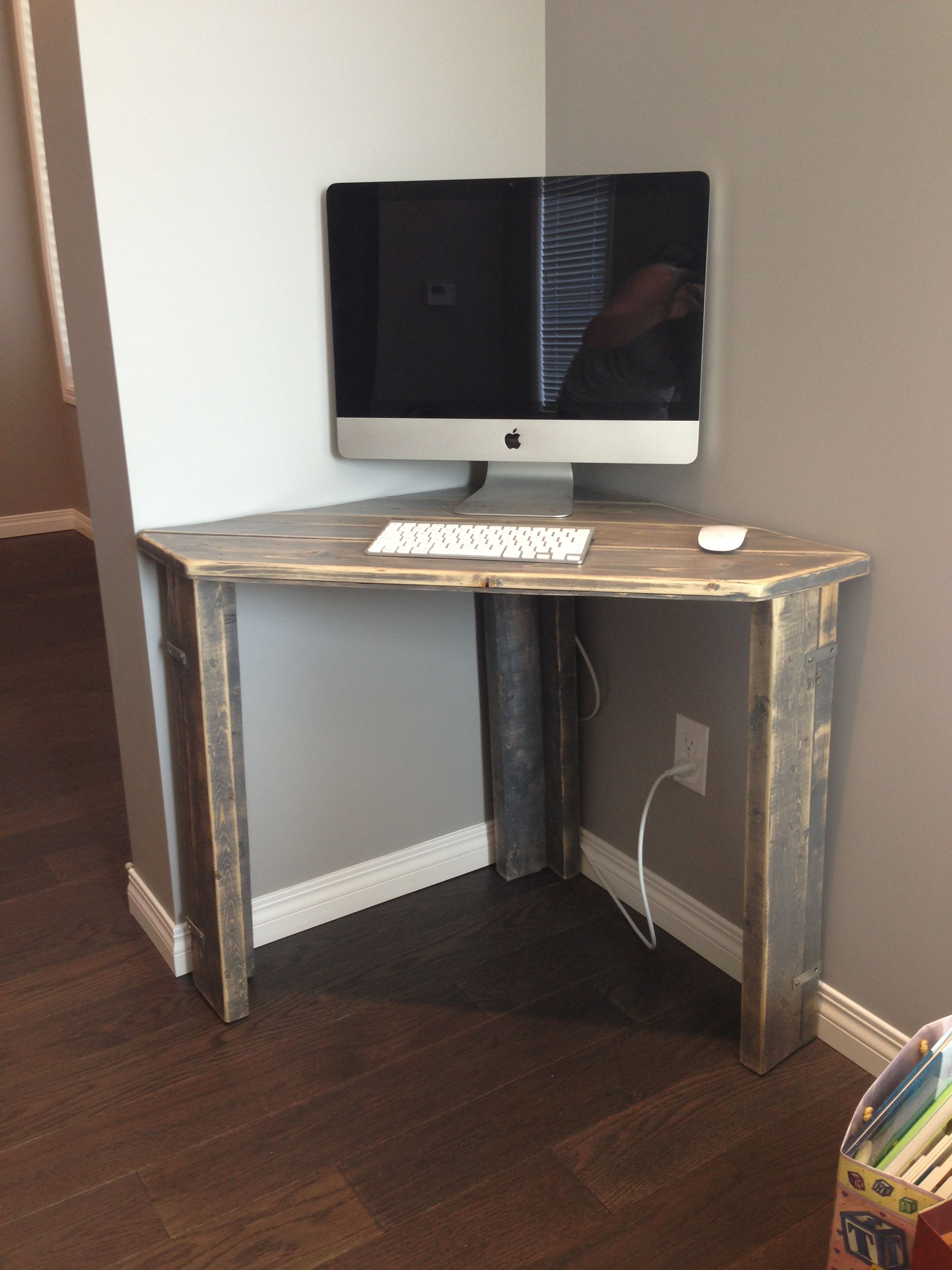 Rustic Corner Desk Office Guest Room Diy Corner Desk Small