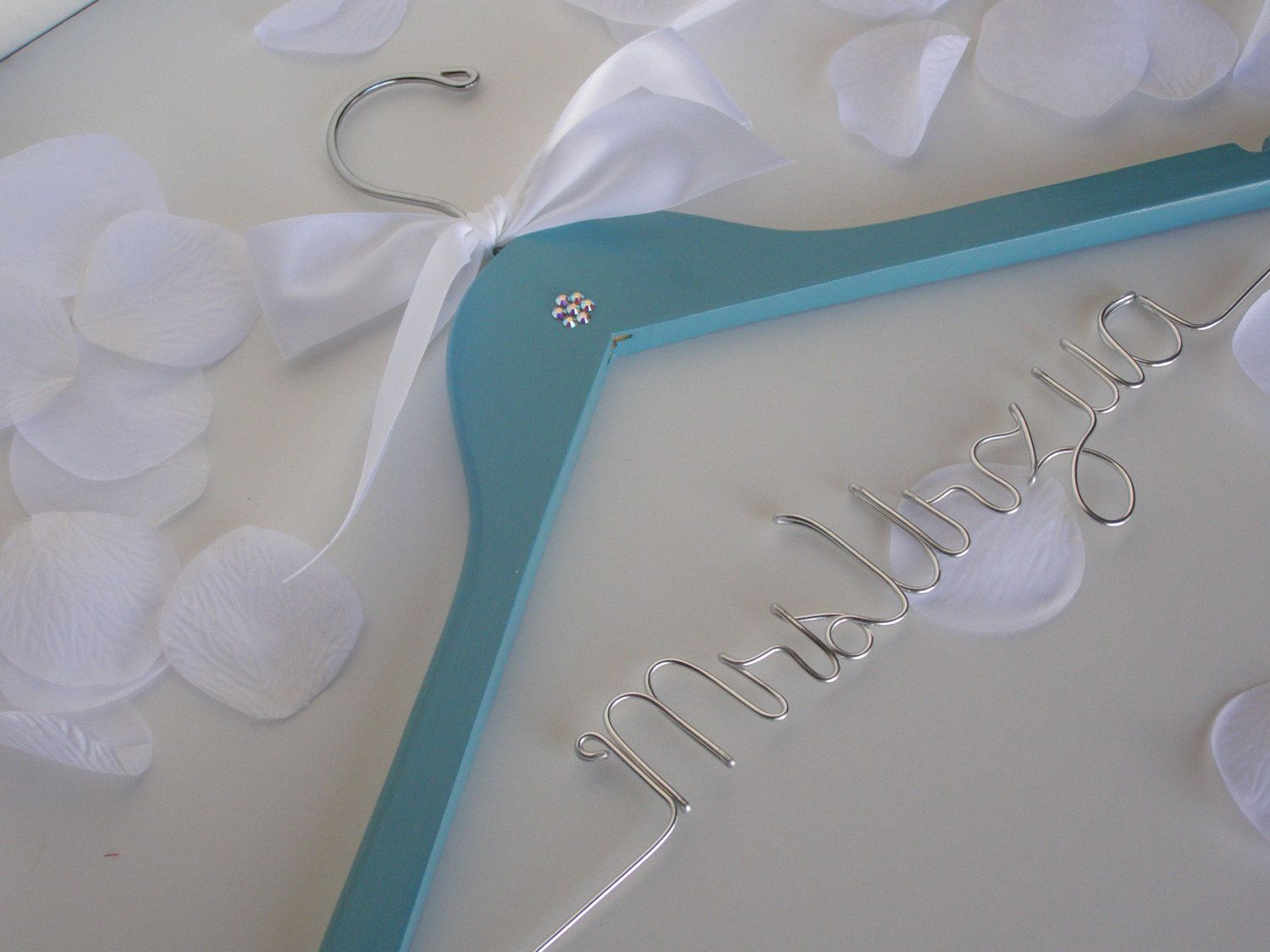 CUSTOM Tiffany Blue Bridal Hanger with Swarovski Crystals ...