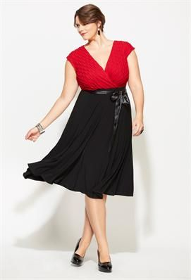 Plus Size Belted Two Tone Dress | Plus Size Apparel | Avenue