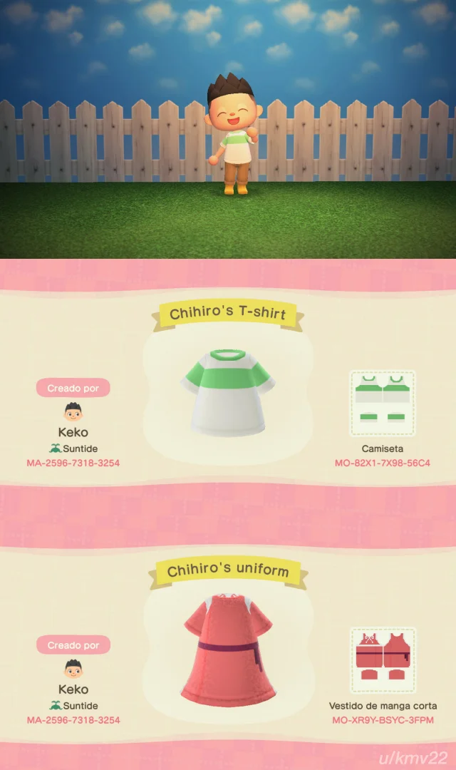 I Made Chihiro S Outfits From Spirited Away By U Kmv22 On The R Acqr Subreddit In 2020 Animal Crossing Game New Animal Crossing Animal Crossing
