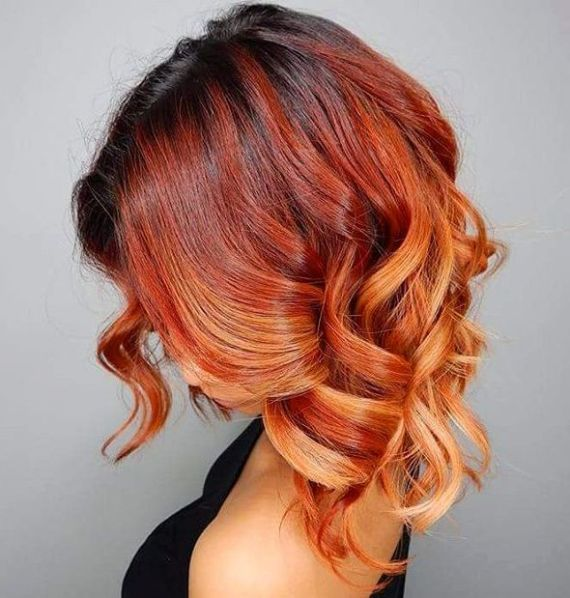 Red Curly Ombre Hair Short Red Hair Red Ombre Hair Copper Hair Color