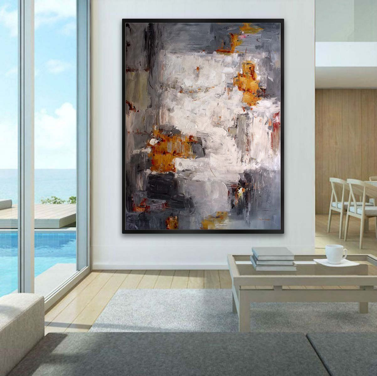 Extra Large Abstract Huge Handmade Palette Knife Painting Contemporary Modern Wall Art Decor Vertical Hanging 60x80 150x200cm Xxxl Modern Wall Decor Art Colorful Abstract Painting Large Abstract Wall Art