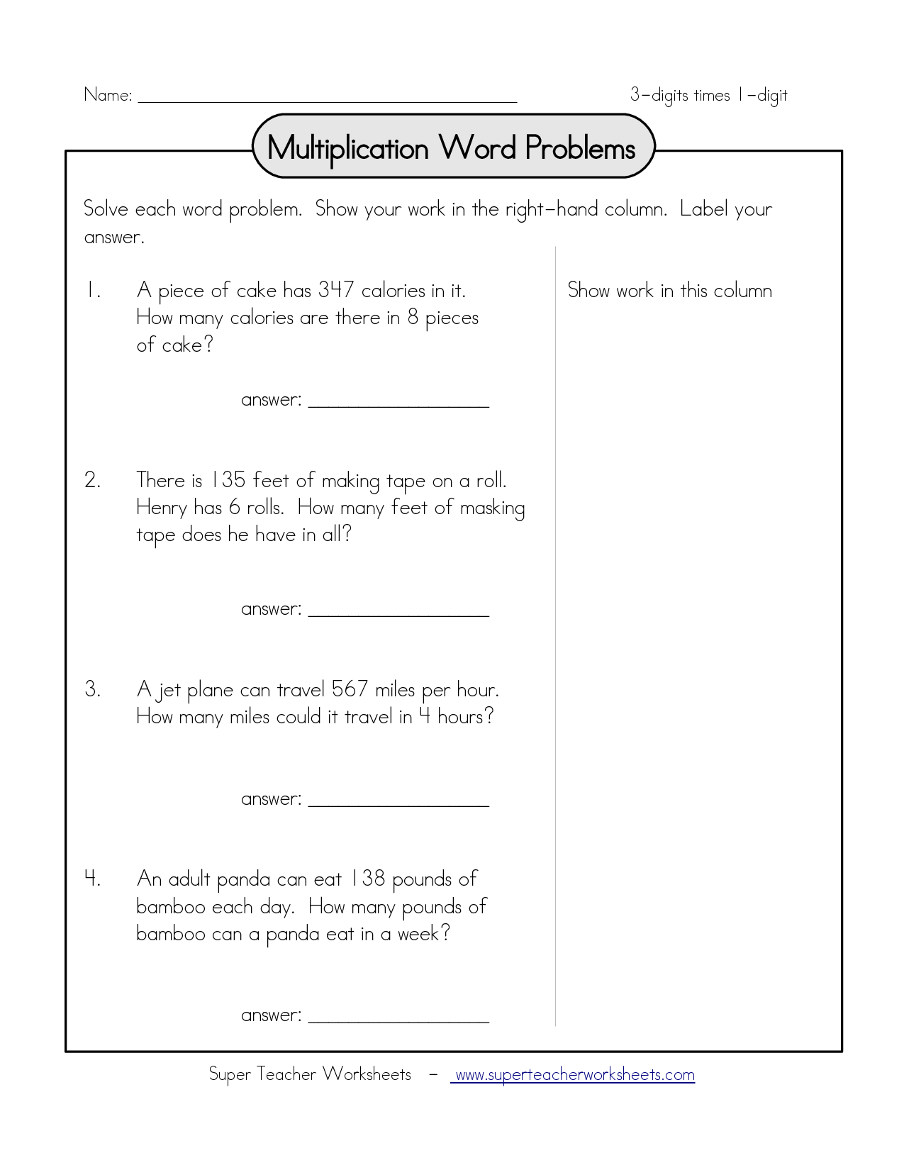 Multiplication Word Problems Name 3 Digits