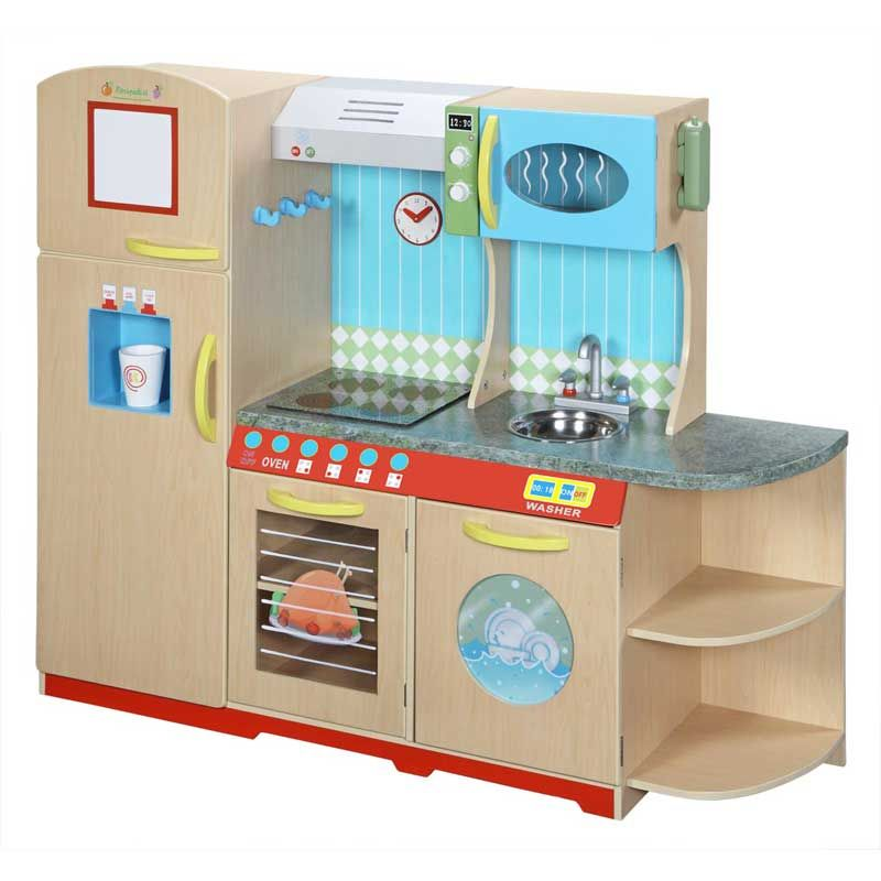 Realistic Play Kitchen Ultimate Corner With Lights And: Kids Play Kitchen Wooden With Realistic Features Including