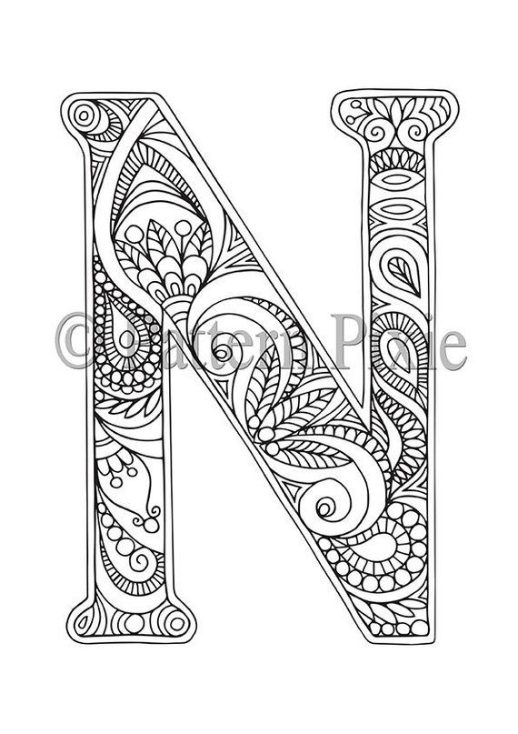 "adult colouring page alphabet letter ""n""  coloring"