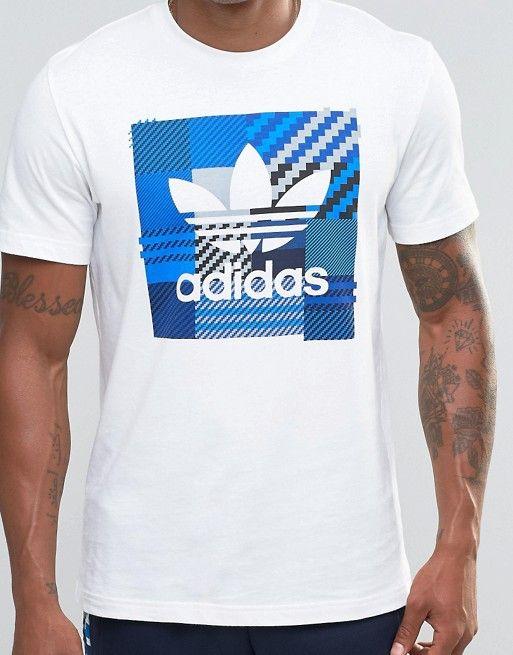 Camiseta blanca a cuadros Impo AZ1029 de adidas Originals  dad226ec118