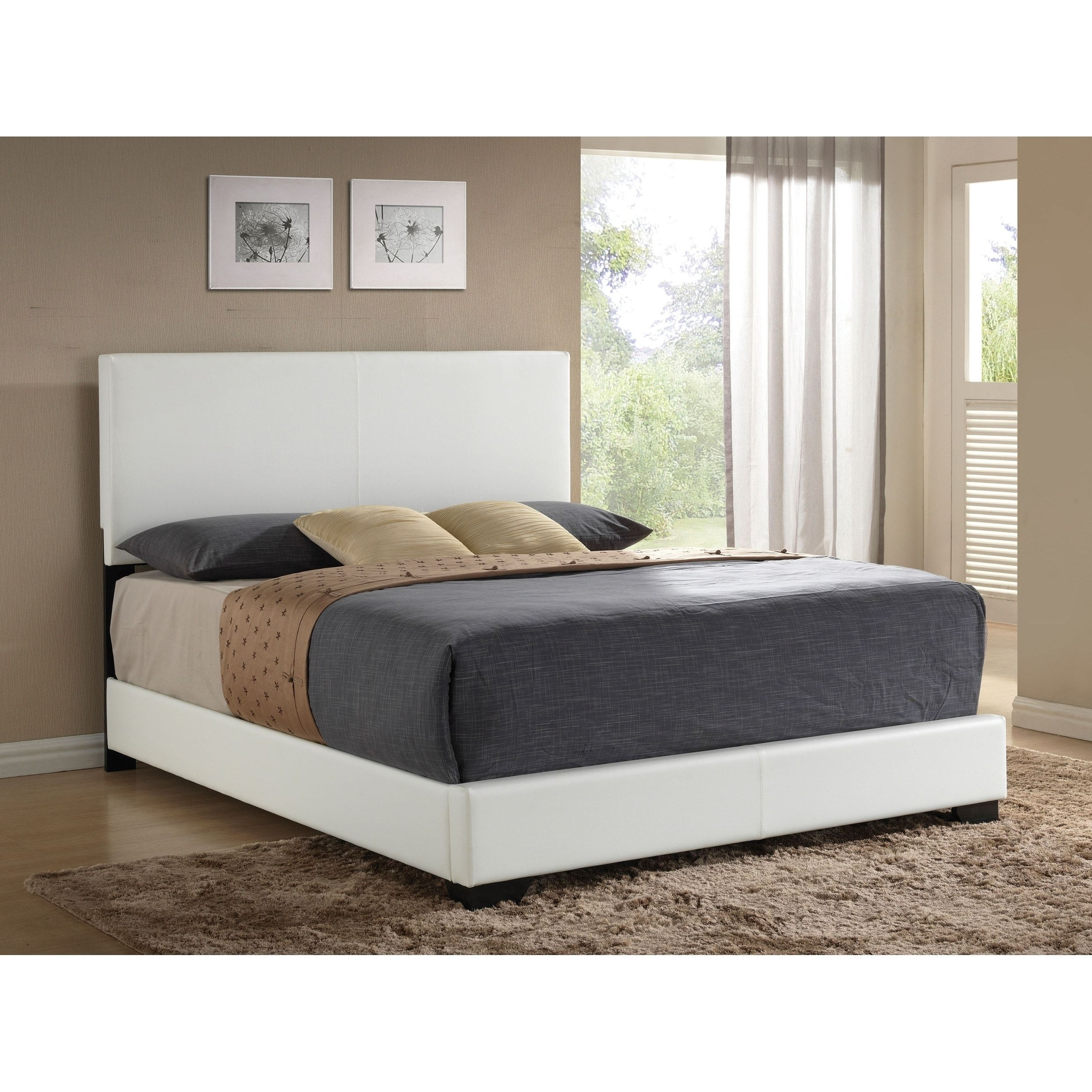 Ireland White PU Bed (King), Acme Upholstered bed frame