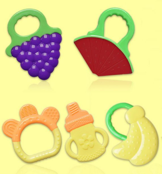 1 Stks Siliconen Baby Baby Bijtring Mooie Fruit Vorm Training Tand Massager Bijtringen voor 3 M + Baby Gratis Verzending