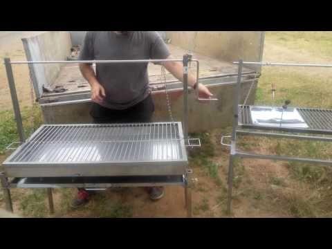 Parrilla de acero inox movil. Grelha de aceiro inox movel. - YouTube