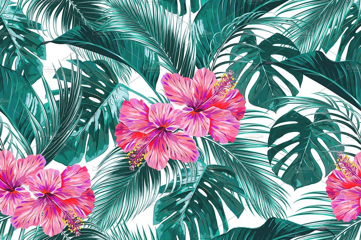Tropical Flowers Leaves Pattern Tropical Flowers Watercolor Illustration Flower Backgrounds