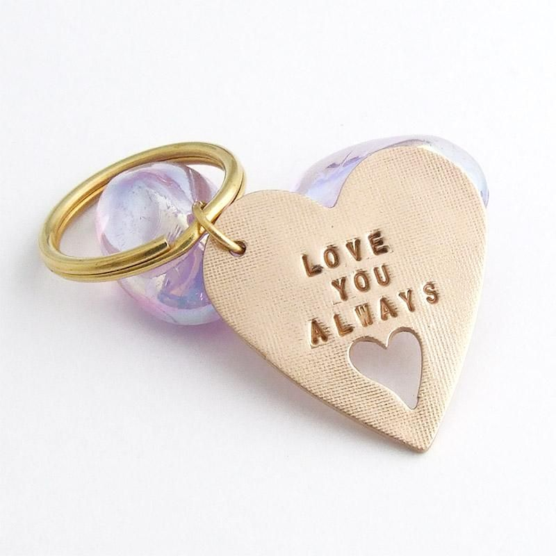Bronze Love You Always Heart Sentiment Keyring (With