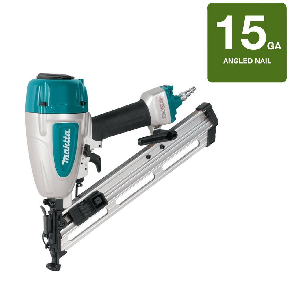 Makita Pneumatic 15 Gauge 2 1 2 In Angled Finish Nailer Finish Nailer Makita Coil Nailer