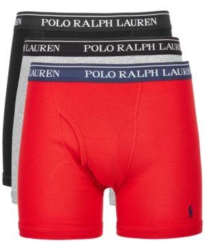 7fc4c1426881 Polo Ralph Lauren Men's 3-Pk. Classic Cotton Boxer Briefs - Heather  Gray/Red/Black XL