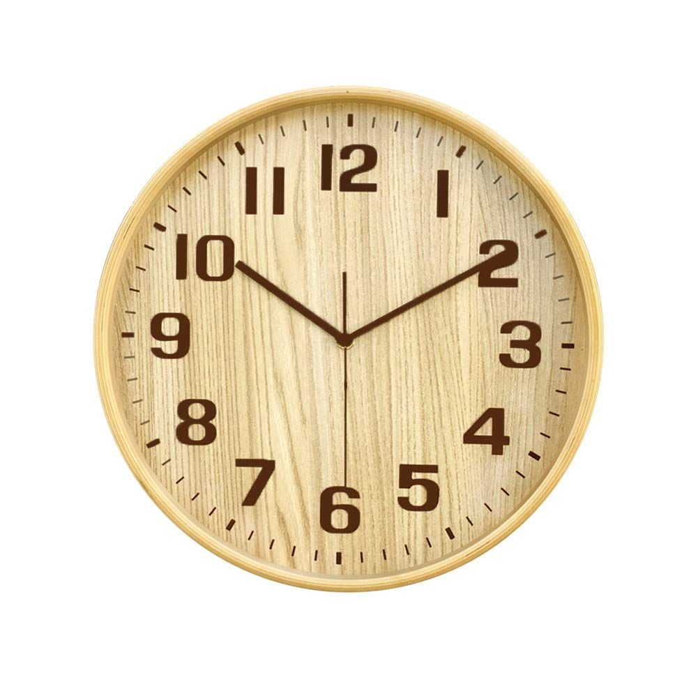 Classic Handmade Silent Wall Clock Kameishi 12 Inches Quiet Wood Wall Clocks Battery Operated Simple Sweep No The Tick Tock Decorative For Office Home Bedroo Wood Wall Clock Living Room Decor Furniture