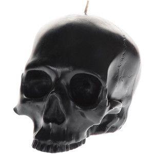 D.L.&Co. Momento Mori Large Black Skull Candle