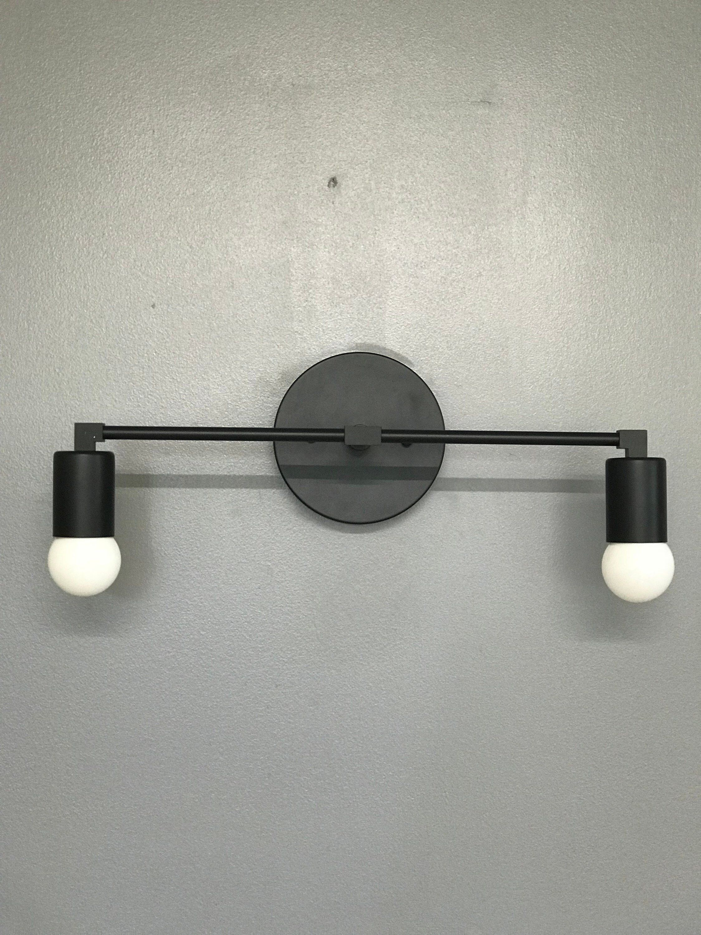 Matte Black Wall Sconce 2 Bulb Vanity Light Fixture Bathroom Lighting Mid Century Modern Fixture Contemporary Lighting Huisdecoratie