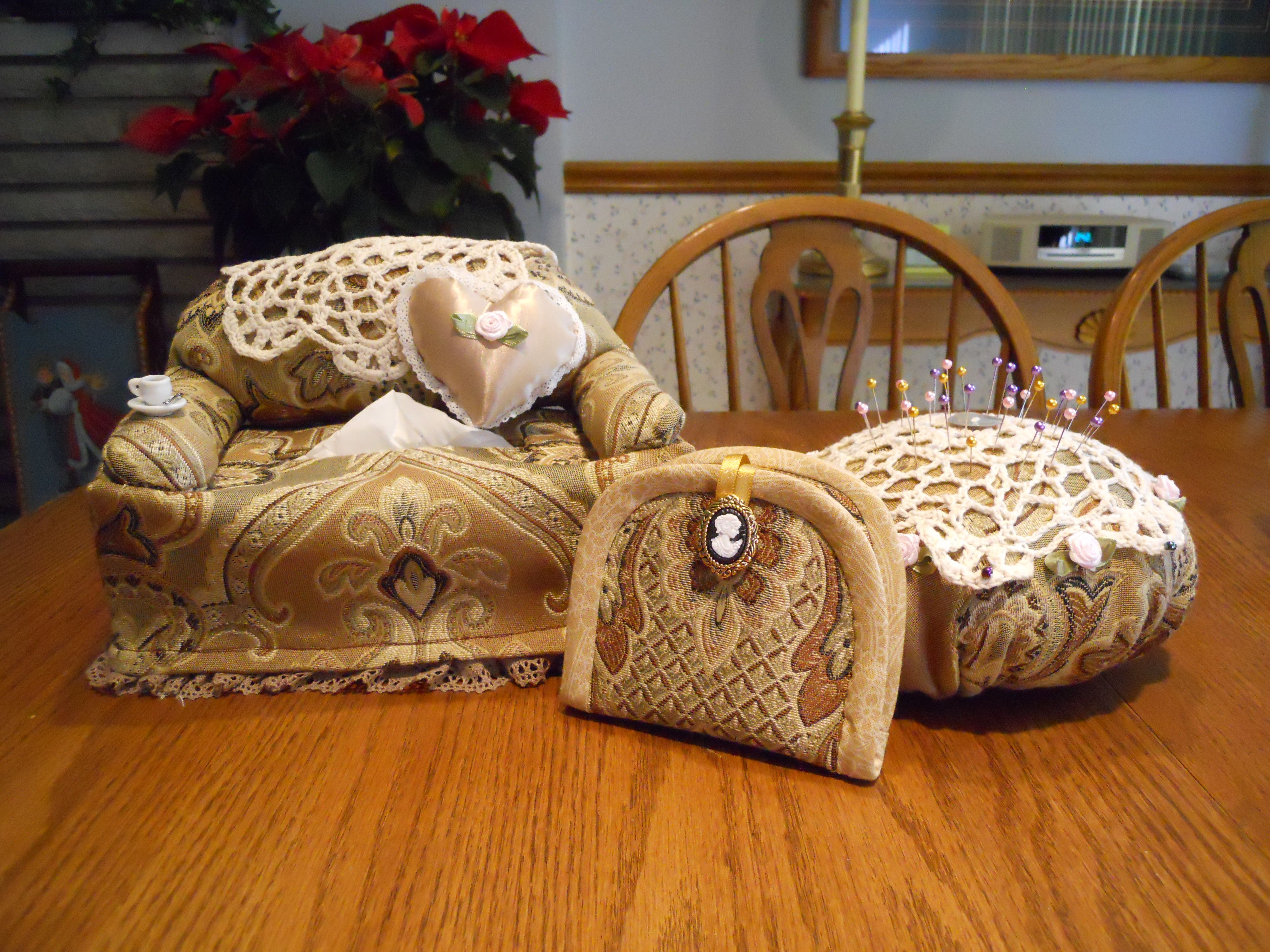 Victorian Sewing Accessories Tissue Box Cover Sofa Pin