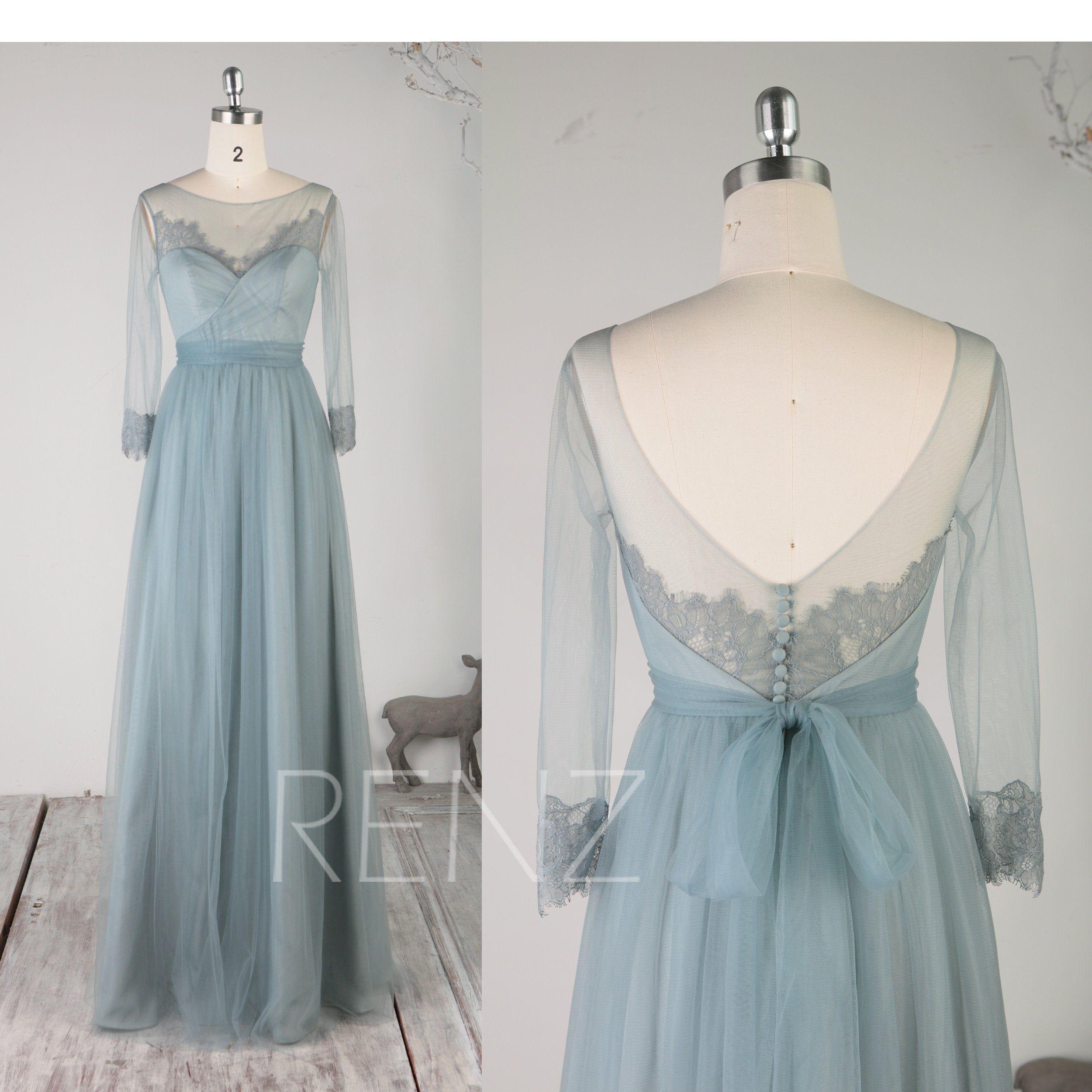 Bridesmaid Dress Dusty Blue Boho Wedding Dress Long Sleeves Prom Dress Lace Illusion Boat Neck Long Sash A Line Tulle Formal Dres Vestidos Largos Vestidos Boda [ 2500 x 2500 Pixel ]