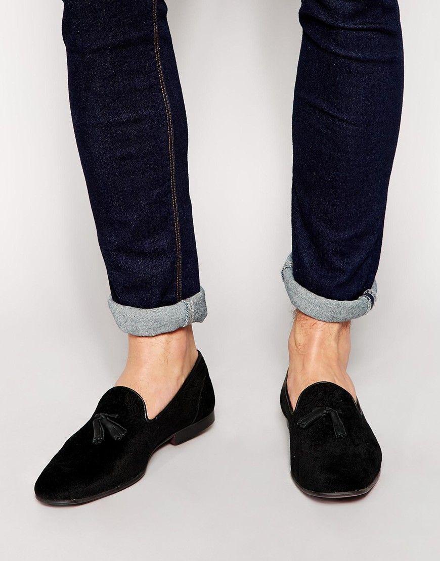 black velvet tassel loafers