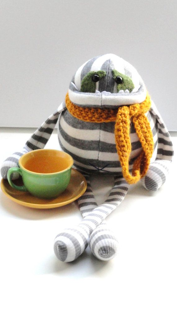 Smug Monster- plush toy upcycled from sweaters-OOAK on Etsy, $45.00 Design may not be copied or reproduced in any way.