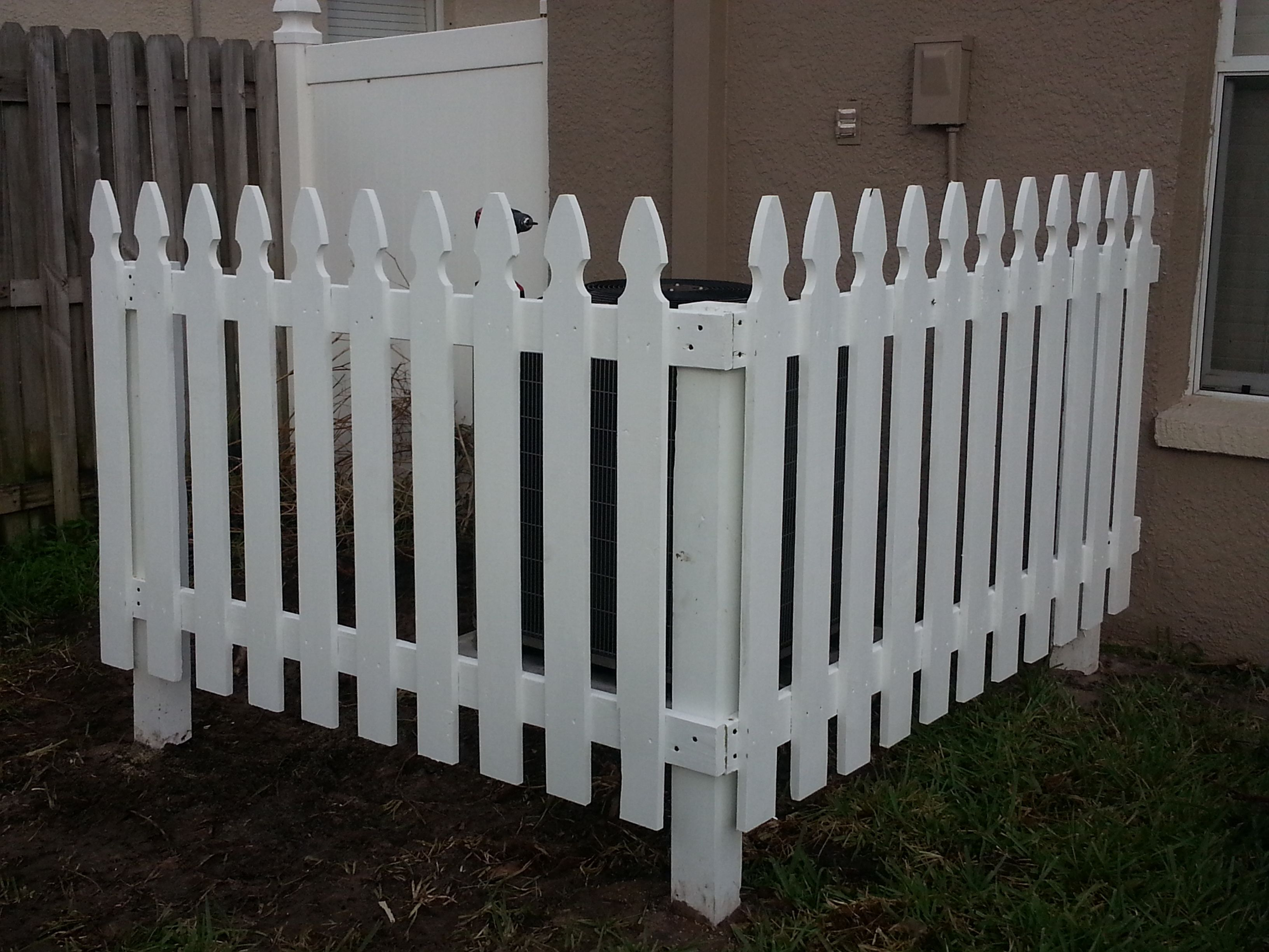 White Picket Fence To Cover Up A C Unit In Backyard Backyard Patio Backyard Yard Design