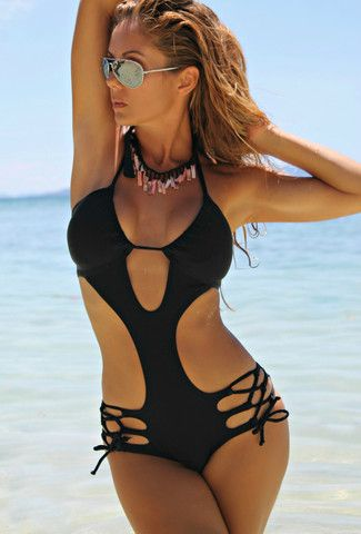 Women One Piece Swimsuit Floral Swimwear Strappy Bandage Monokini Bathing Suit Design Beach Wear