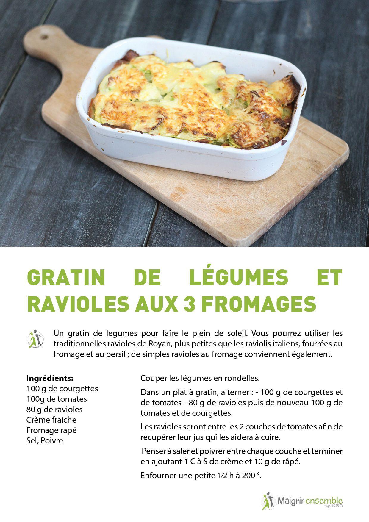 manger sain : gratin de légumes et ravioles 3 fromages - recette