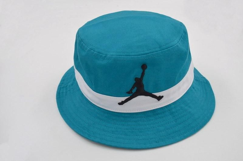 Mens Air Jordan 2016 Fashion Trend The Black Jumpman Embroidered Logo Retro  Air Striped Fishing Bucket Hat - Teal   White 16abc5ea66f5