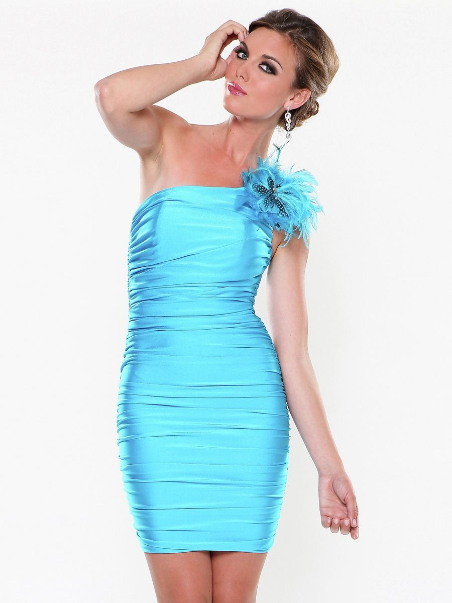 One Shoulder Rouched Feather Broach Dress With Feather Broach ...