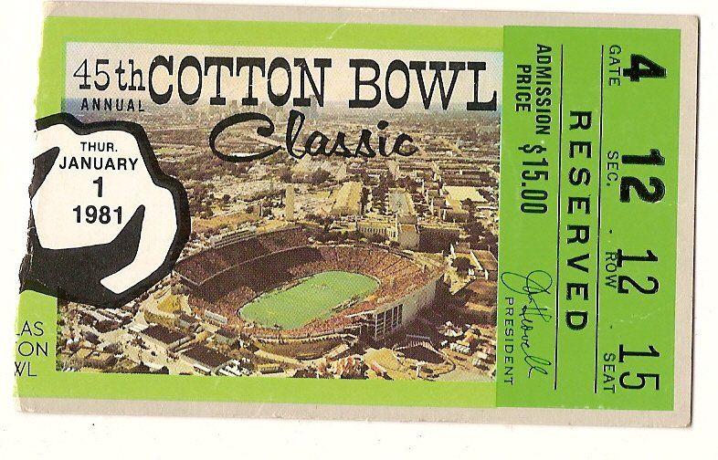 1981 Cotton Bowl Ticket Stub Alabama Baylor Cotton bowl