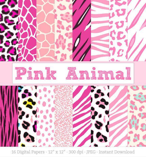 Digital Paper: Pink Animal Print Zebra Print by craftyclipart
