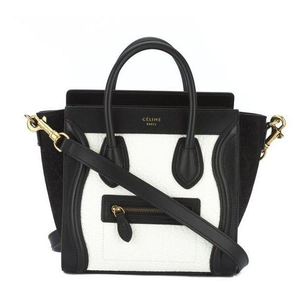 7a58b21e2961 Pre-Owned Celine Black and White Bullhide Nano Luggage Handbag ($2,739) ❤  liked on Polyvore featuring bags, black, leather handle bag, black and  white bag, ...