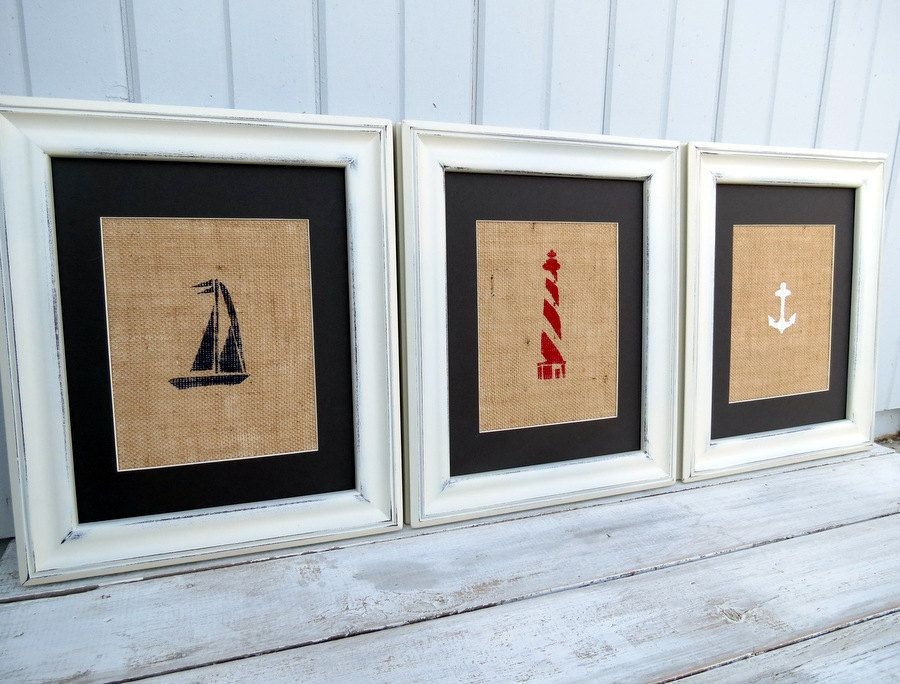 Nautical Nursery Wall Decor nautical decor / nautical nursery wall art / set of three burlap