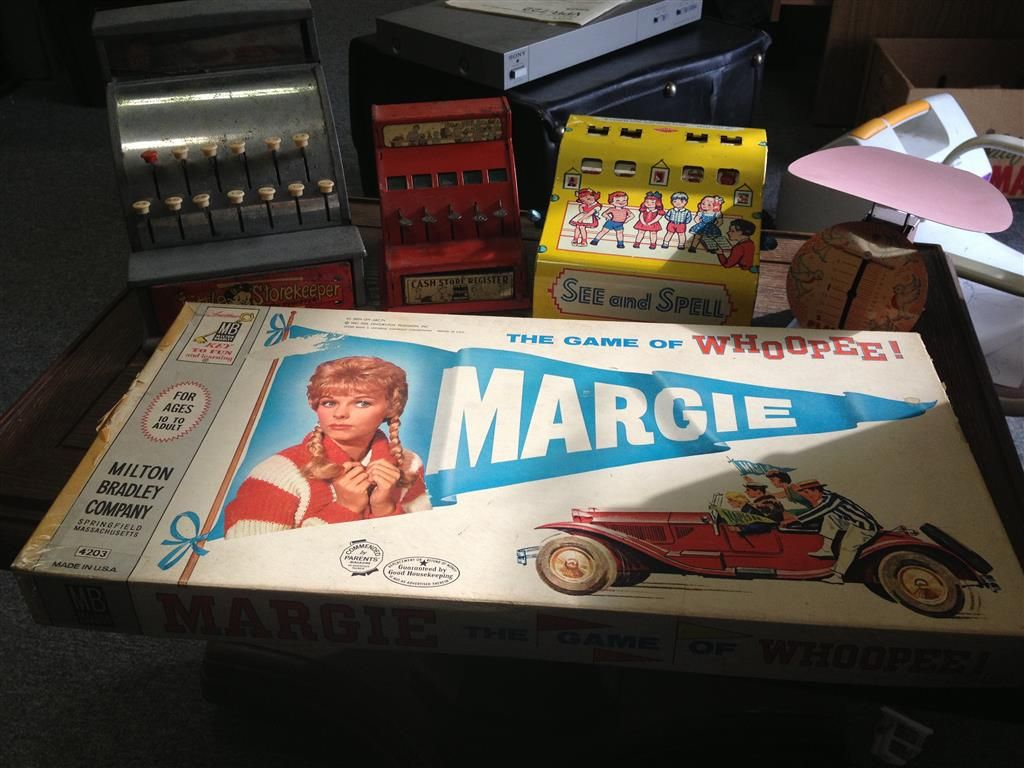 Antique Children's Items - Cash Register, Scale, Board Game and More!