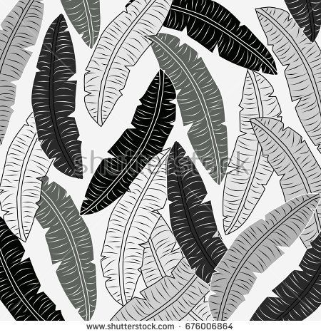 Summer Pattern With Black And White Palm LeavesVintageabstracttropical Exotic