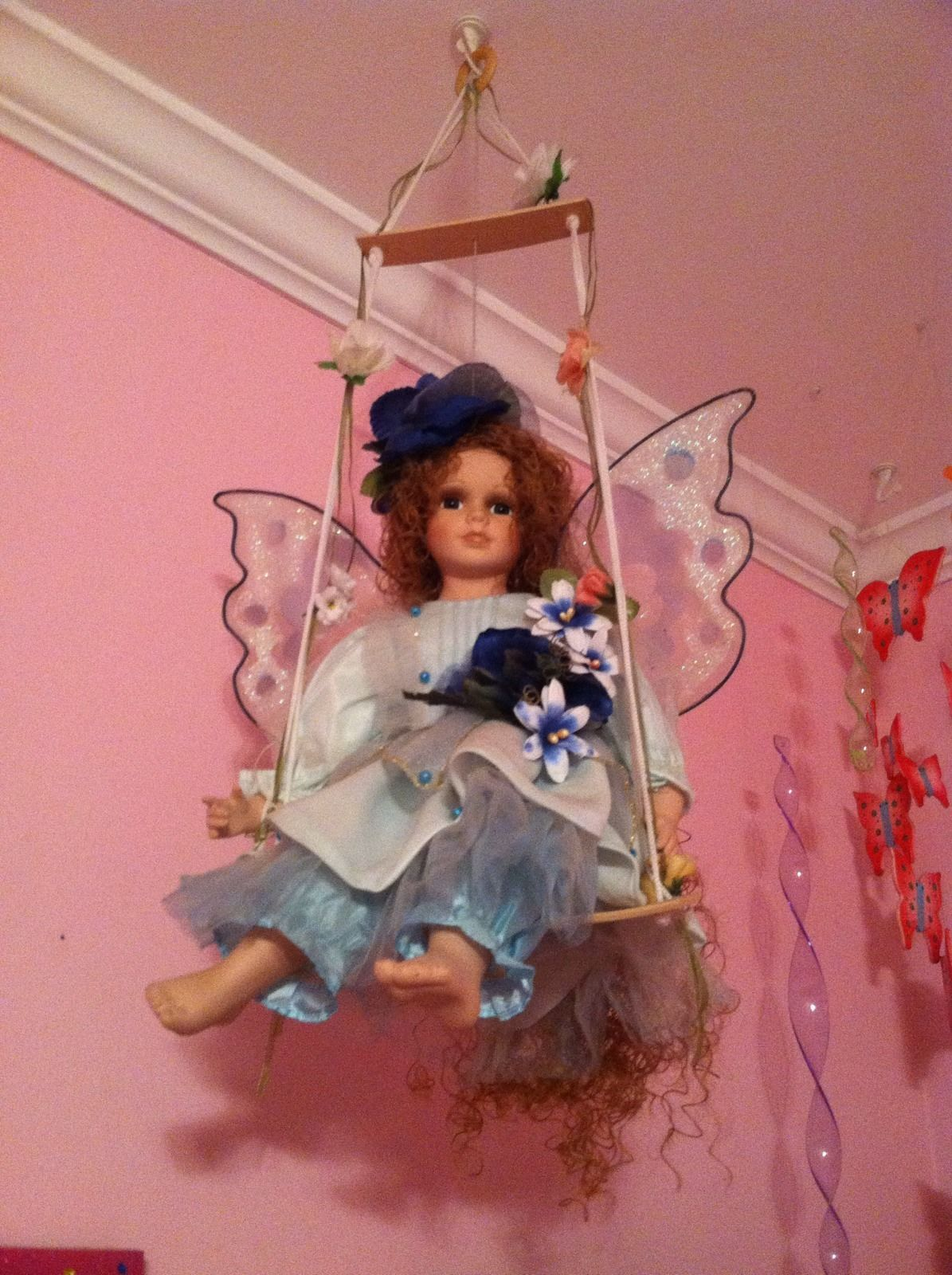 Hanging Girl Fairy Butterfly Porcelain Doll Blue Dress White Flowers ...
