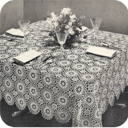 Worlds Fair Tablecloth Crochet Pattern; Vintage 1940s Crocheted ...