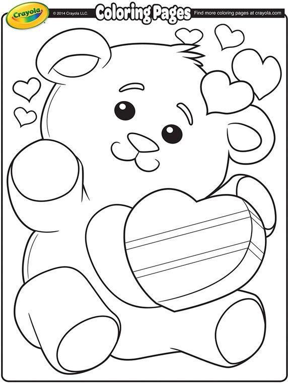 Valentine\'s Teddy Bear on crayola.com | Coloring pages | Valentines ...
