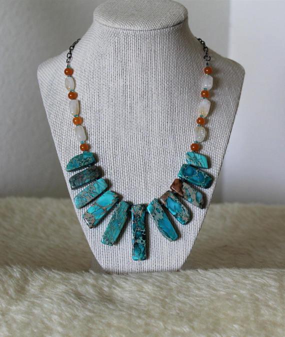 "18-22/"" Blue Sea sediment Jasper Necklace"