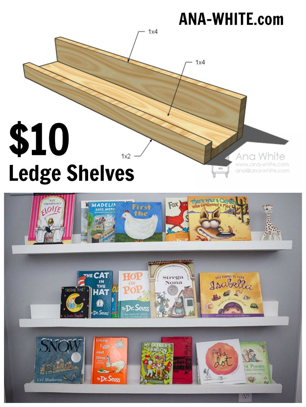 How To Build Pottery Barn Style Photo Shelves Book Ledge